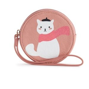 NWT LC Lauren Conrad Kitty Cat Round Coin Pouch